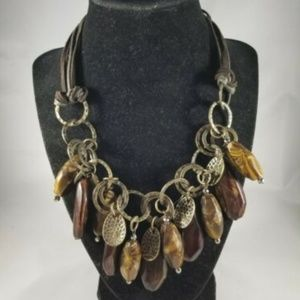 Jewelry - Brown Green Dangle Beads Chunky Statement Necklace